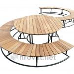 Dvojna okrogla lesena klop1