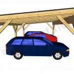 Enokapni nadstrešek za tri avtomobile od strani