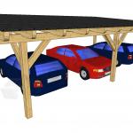 Enokapni nadstrešek za tri avtomobile od zadaj