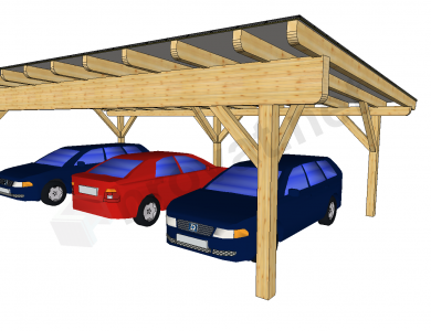 Enokapni nadstrešek za tri avtomobile primer