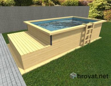Lesen zunanji bazen z ležalnikom 2,5m x 4m