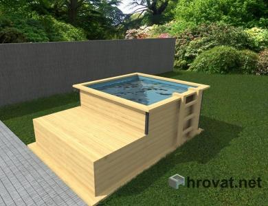 Lesen zunanji bazen z ležalnikom 2x2m