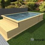 Lesen zunanji bazen z ležalnikom 3,5m x 6m