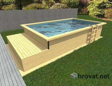 Lesen zunanji bazen z ležalnikom 3m x 5m