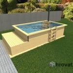 Lesen zunanji bazen z ogrevanjem in ležalnikom 2,5m x 4m