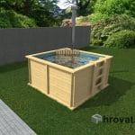 Lesen bazen s pečjo na drva 2m x 2m