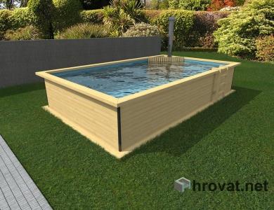 Lesen bazen z vročo pečjo in zunanjo obrobo 3,5m x 6m