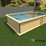 Lesen zunanji bazen s pečjo na drva in zunanjo obrobo 3mx5m