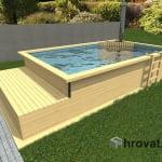 Lesen zunanji bazen s pečjo na drva in ležalnikom 3mx5m