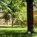 Lesena ograja Jarše skozi listje