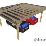 Nadstrešek z ravno streho za dva avtomobila streha