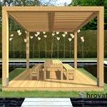 Pergola s teraso in brisoleji spredaj